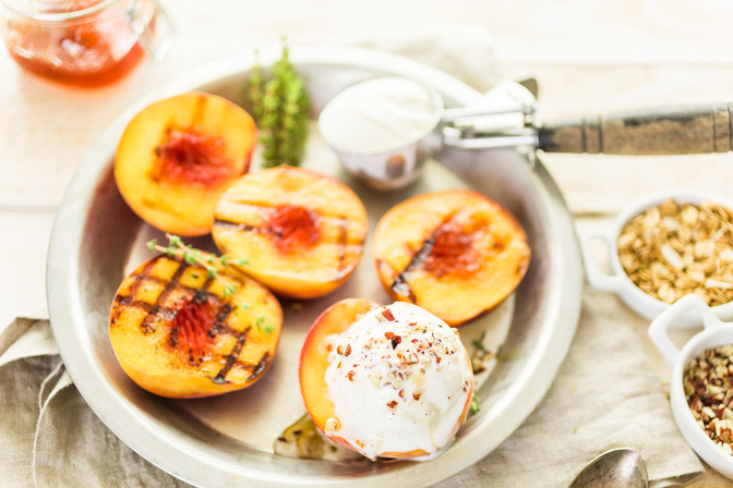 Treat your self! Grilled peaches with honey and vanilla icecream!  Perfect for a delish treat happy
