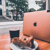 Apple cake & americano in the window
