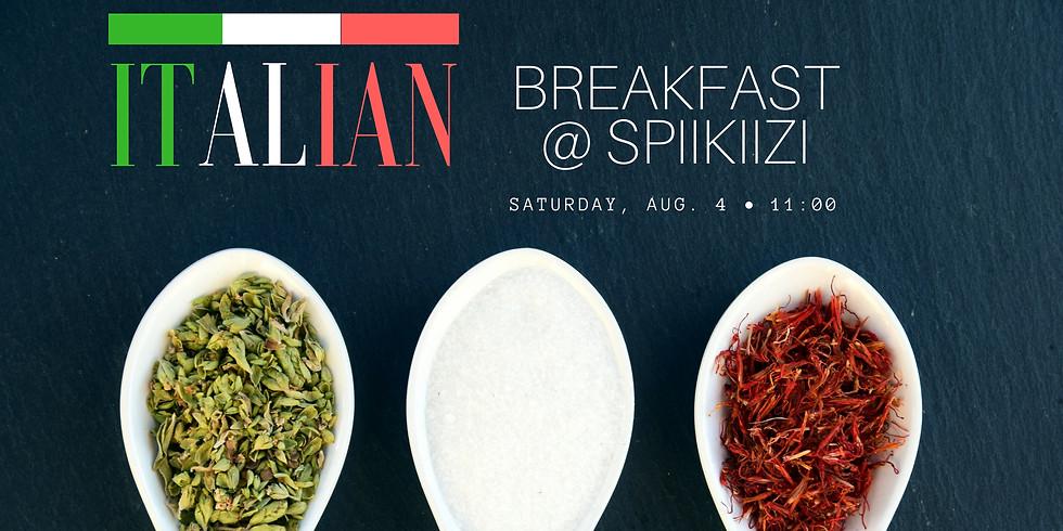 Italian breakfast. Snacks, coffee, conversations