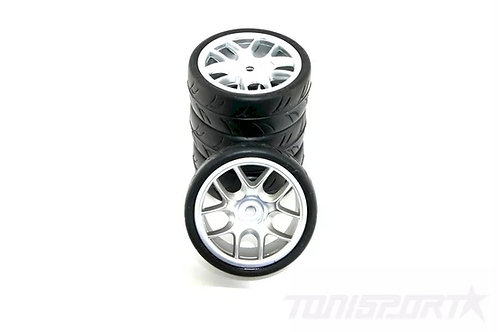 RIDE 1/10 BELTED TIRES 24MM PRE-GLUED WITH 10 SPOKE WHEEL - GRAY - RI-26073