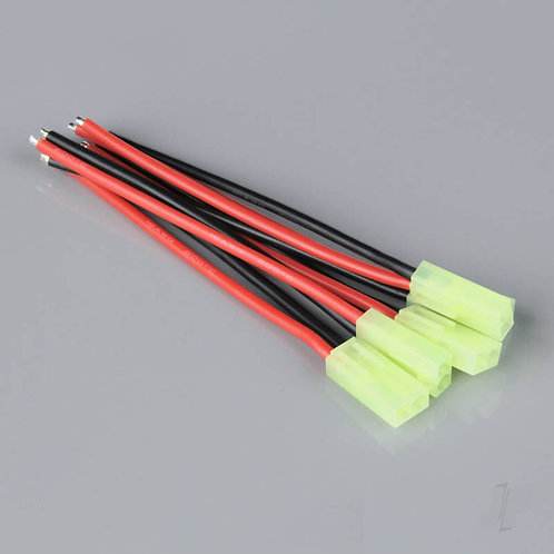 MINI TAMIYA TYPE FEMALE CONNECTOR WITH 16AWG / 100MM WIRE (5PCS)