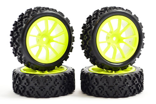 FASTRAX 1/10 STREET/RALLY TYRE 10SP WITH NEON YELLOW WHEEL - FAST0073Y
