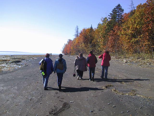 Promenade sur la plage en automne