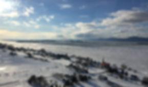 Village e l'Isle-aux-Grues vue des airs en hiver