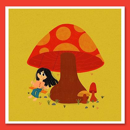 Little Mushroom Swing Print