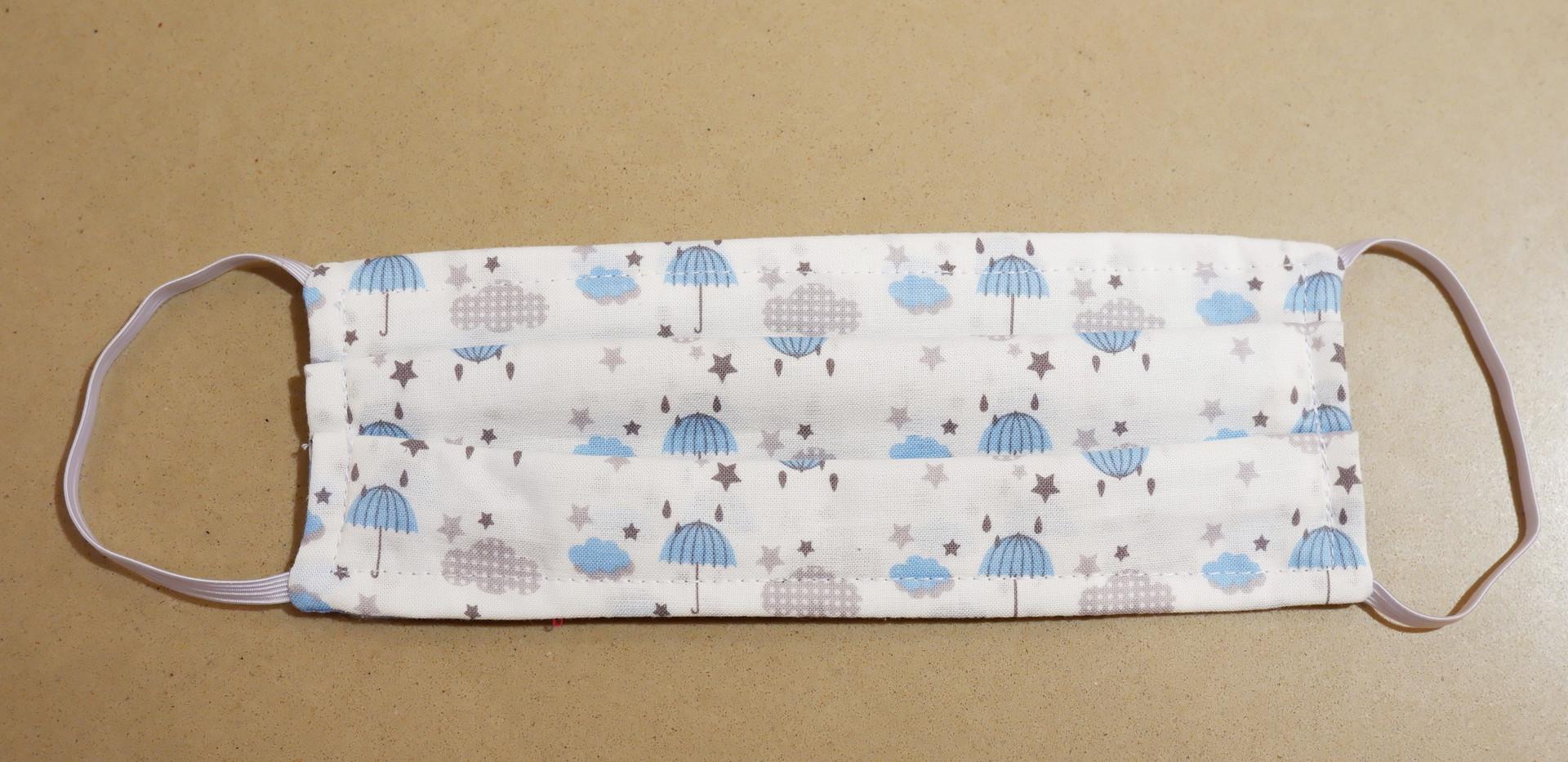 Blue rainy day fabric mask