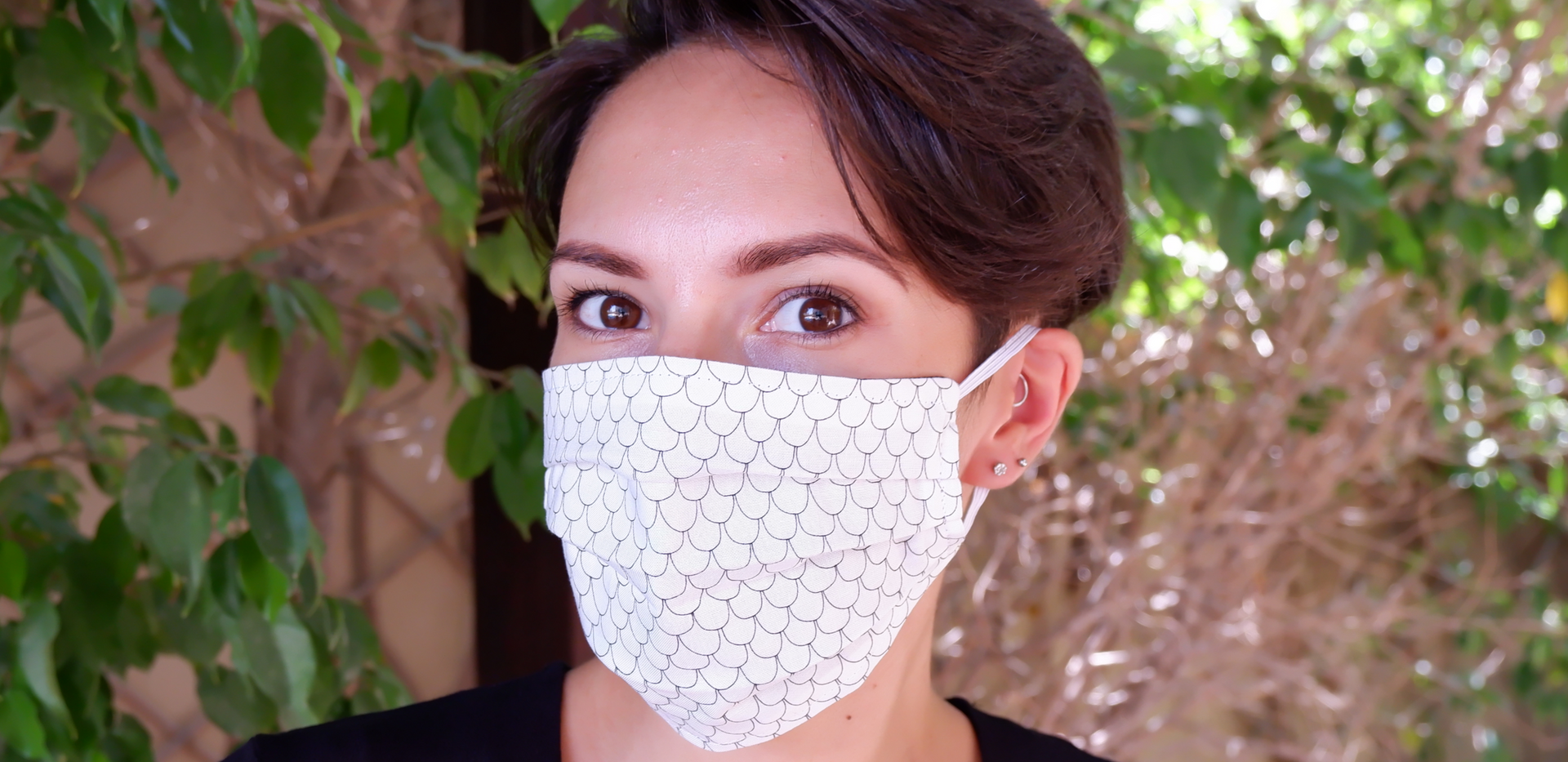 White scale Fabric Face Cover