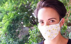 Yellow Rainy Day Fabric Mask