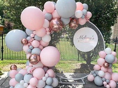 White Round Mesh Screen, Balloons and Signage