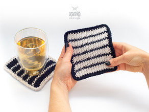 Porta-copos Correnteza | Crochê Tunisiano