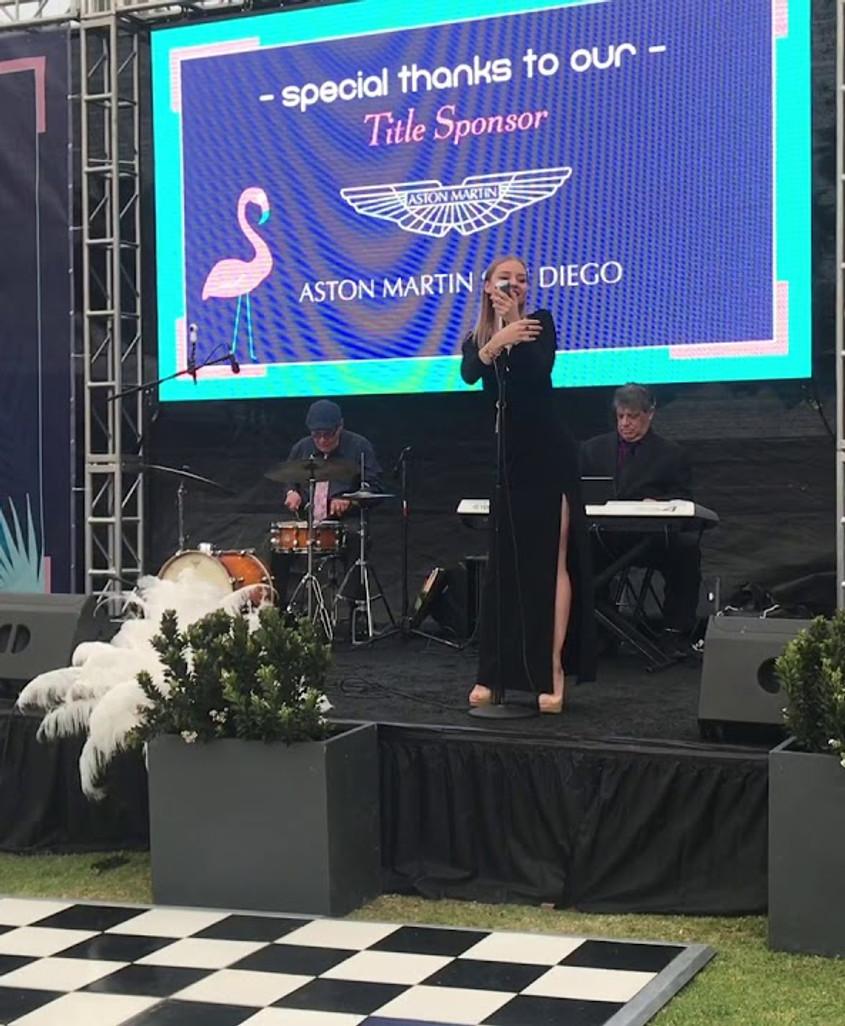 Christina Sofina sings jazz at La Jolla Concours D'Elegance