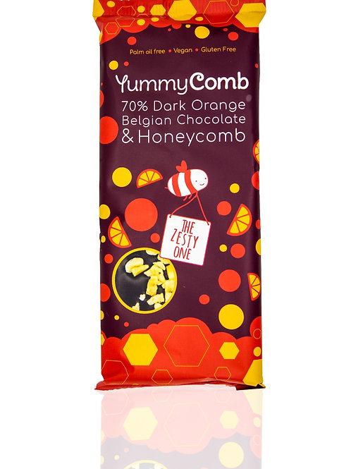 12 x 70% Dark Belgian Chocolate & Honeycomb Slabs (100g) - The Zesty One