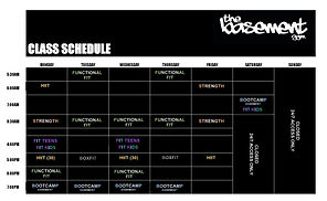 The Basement Gym HQ Class Schedule March