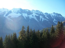 Morning sun shining over the Alps