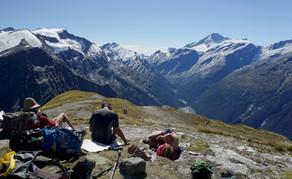 Hikers on Cascade Saddle, New Zealand