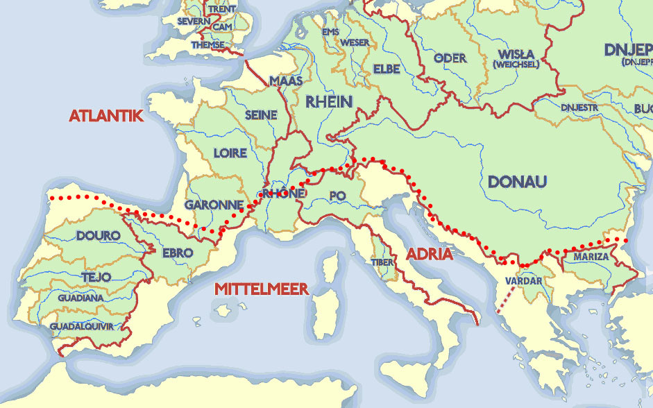 Trans European Alpine Route and the watersheds of Europe