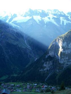 Morning light shining on the Alps
