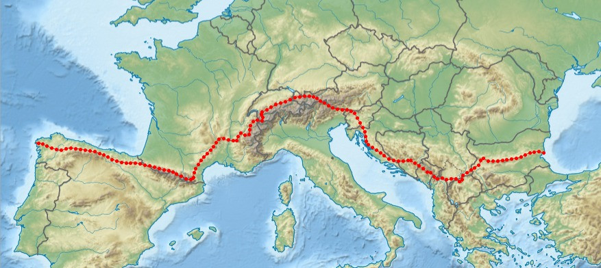 Map of a the Trans-European Alpine Route