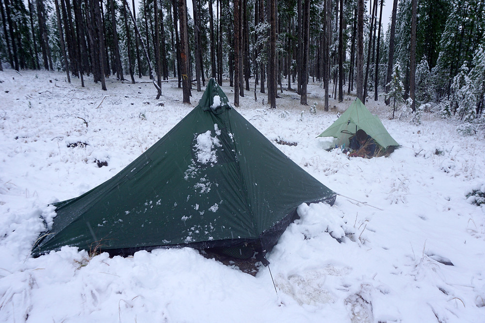 Snow on lightweight tarp shelter CDT