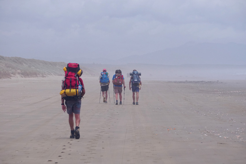 Hikers on 90 mile Beach