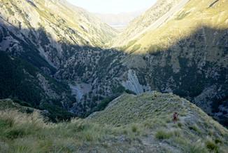 Hiker on steep trail, Te Araroa, New Zealand