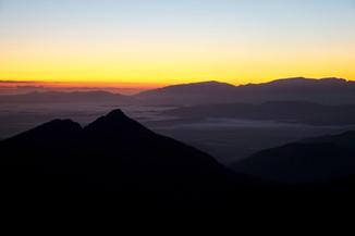 Sunrise over mountains, Te Araroa, New Zealand