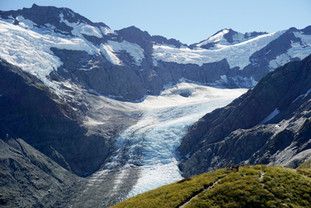 Dart Glacier from Cascade Saddle with Hikers, New Zealand