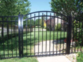 Black aluminum fence gate, with  installation by Tidewater Virginia Peninsula fence contractor