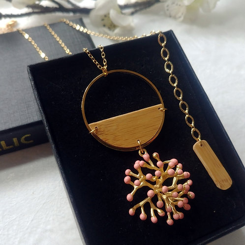 Collier long Coral