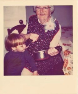 My beautiful Grandmother Rushing, feeding my little brother chocolate pudding!