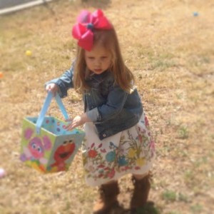 Bodacious is a model of single-minded determination at her school egg hunt. Note -- no caramel eggs or bubbles in that basket!
