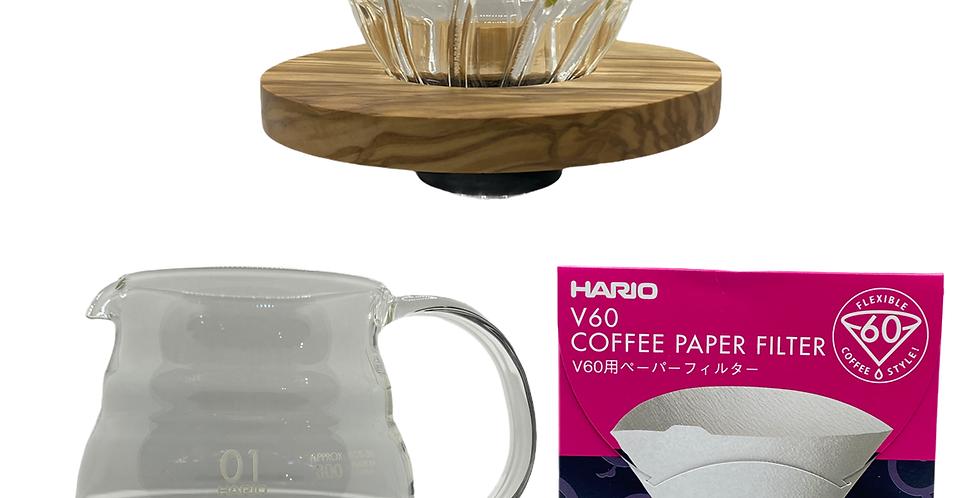 V60 Completo Vidrio / Madera