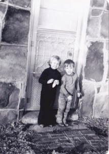 My brother Bodie and I on my great-grandmother's back doorstep. I think I am 3 and he is 2. See, already he is tall and thin.