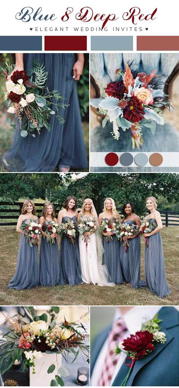 dusty-blue-and-deep-red-fall-wedding-color-ideas