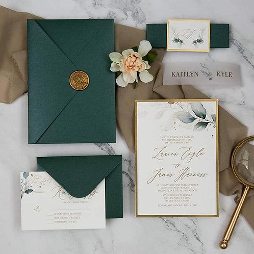 Emerald Green & Gold Invitation