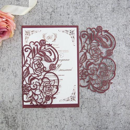 Delicate Rose Laser Cut Invitation