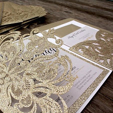 Champage Gold Glitter Wedding Invitatons