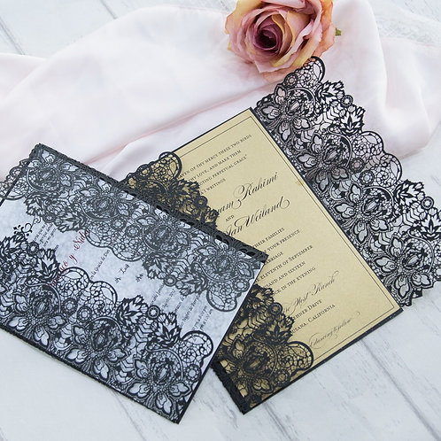 Delicate Lace Laser Cut Invitation