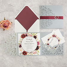 Silver Laser Cut Pocketfold Invitations