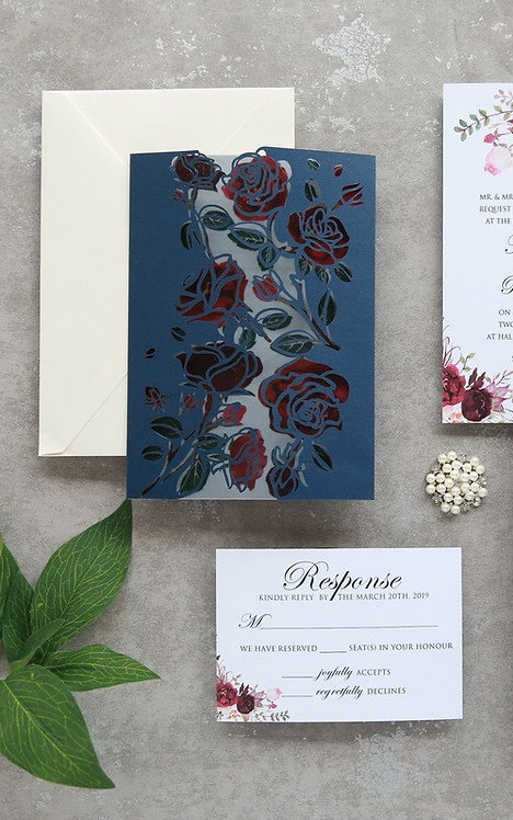 Rose Gatefold Laser Cut Invitation