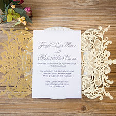Gold Laser Cut Wedding Stationery