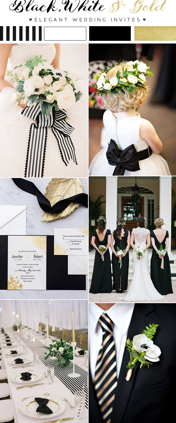 Modern-black-and-white-striped-wedding-ideas-with-gold-accents