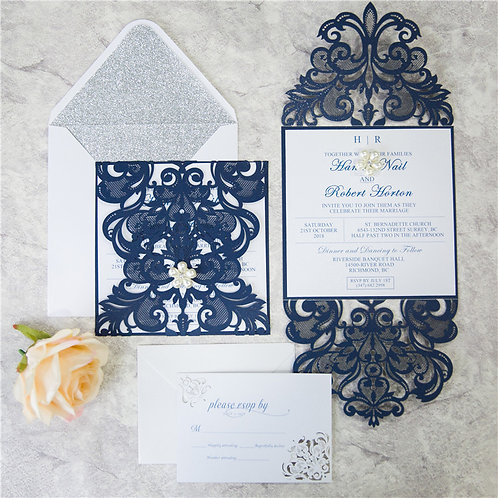 Tanya Navy Laser Cut Invitation