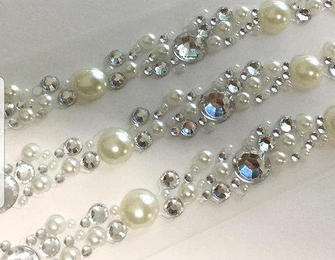 Self adhesive pearl & diamante strip 3 per pack