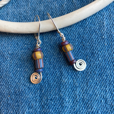 Indigo Stripe and Sterling Spiral Earrings