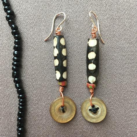 Batik Bone and Horn Button Earrings