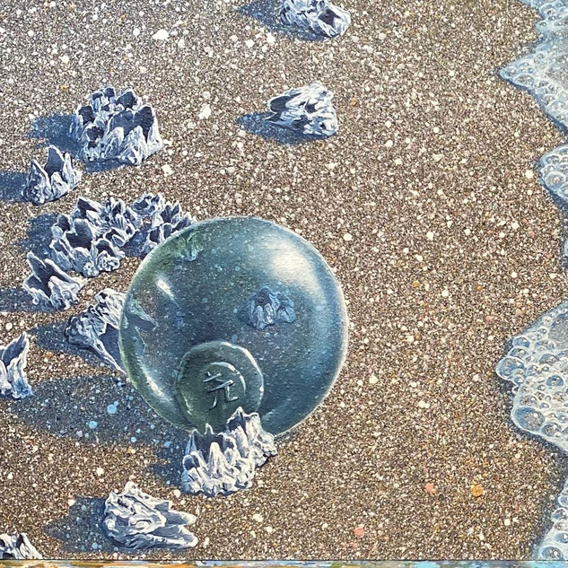 Glass Float on Barnacle Beach