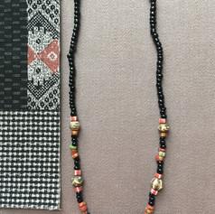 Batik Bone and Black Bead Neckless
