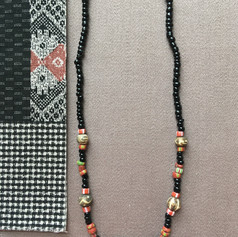 Batik Bone and Black Bead Neckless