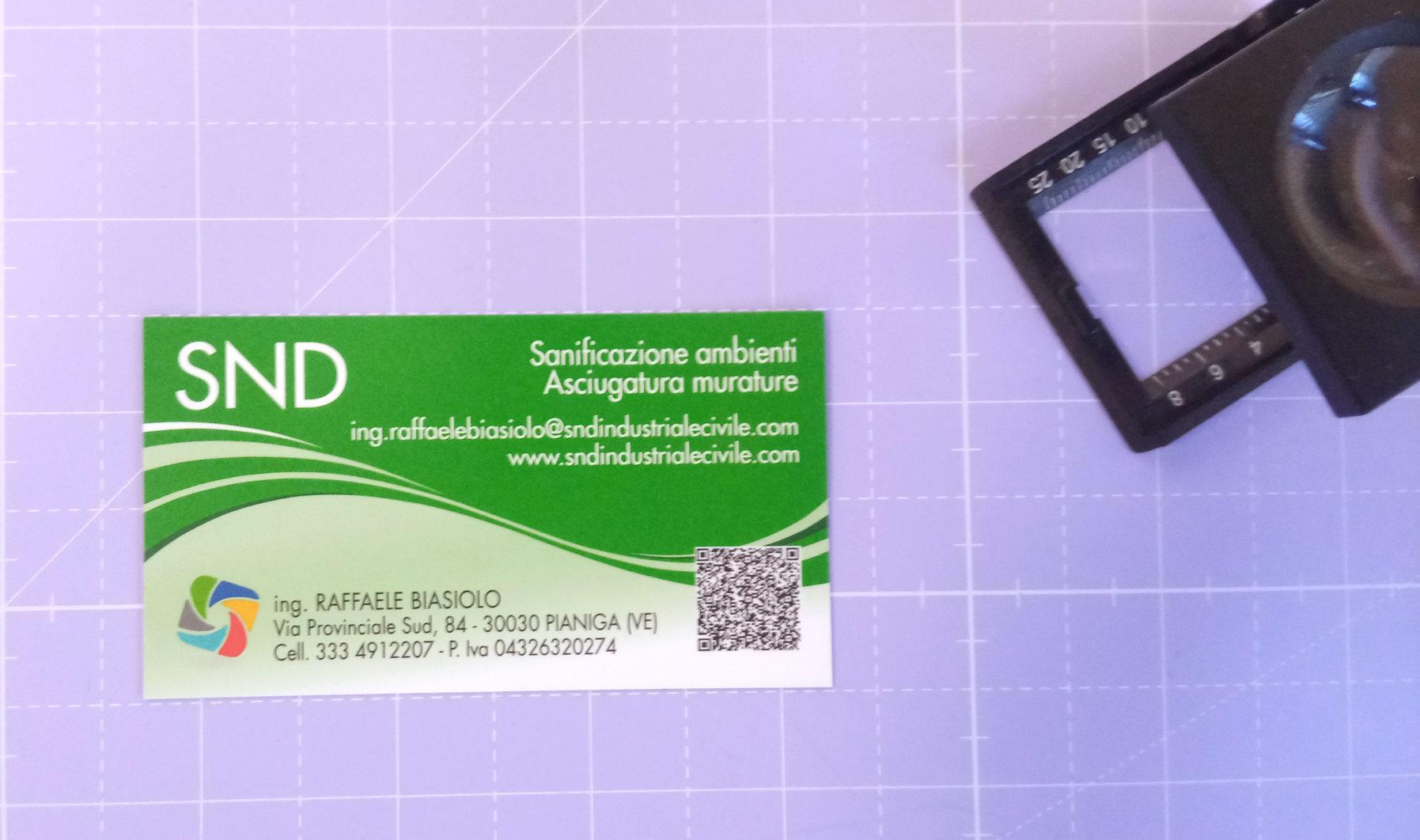 Grafica, stampa e realizzazione Biglietto da visita SND Industriale Civile a 4/4 colori su carta patinata opaca